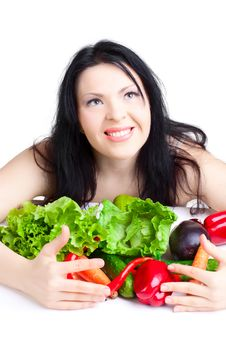 Free Beautiful Woman  With Vegetables Stock Photo - 17321260
