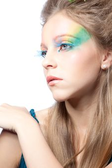 Free Beautiful Woman  With Color Makeup Stock Photography - 17321402