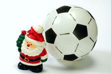 Free Santa Claus And The Soccer Ball On White Stock Photos - 17321673