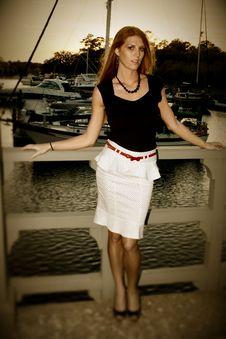 Lady On Dock, Cross Process Stock Image