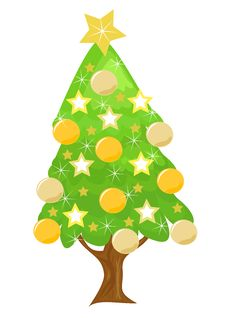 Free Decorated Golden Christmas Tree Stock Image - 17322551