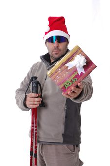 Hiker With A Gift Royalty Free Stock Photos