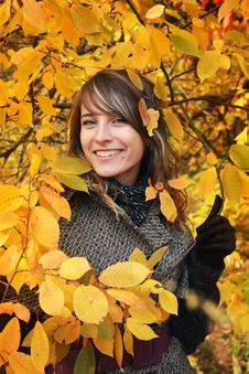 Beautiful Girl Among Yellow Autumn Leaves Stock Photography