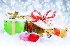 Christmas Decorations. Gift Boxes Stock Images