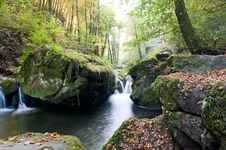 Free Autumn Forest Waterfall Stock Photography - 17323632