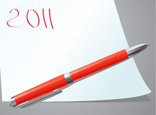 Red Pen On Paper Royalty Free Stock Image
