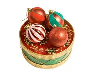 Free Christmas Ornaments On A Decorative Box Stock Photos - 17325033
