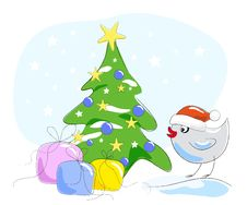 Free Bird In Santa Claus Hat Royalty Free Stock Images - 17325149