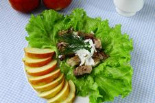 Free Fish With Apple And Lettuce Stock Image - 17325151