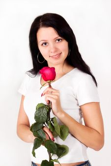 Pretty Girl, Woman Holding A Rose, Flower