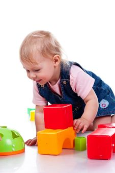 Free Beautiful Baby Building A Castle Stock Photography - 17325352