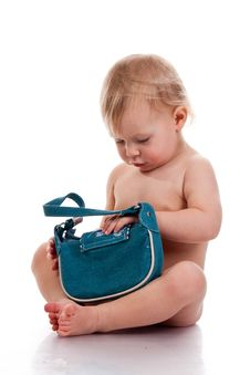 Free Baby Looking Into A Small Bag Royalty Free Stock Photos - 17325388
