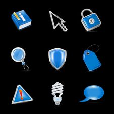Free Universal Icons, On Black Royalty Free Stock Images - 17325669
