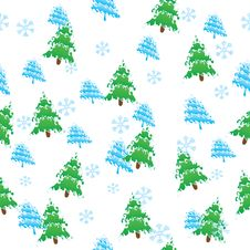 Free Seamless Vector Pattern, Christmas Trees Stock Photos - 17325903