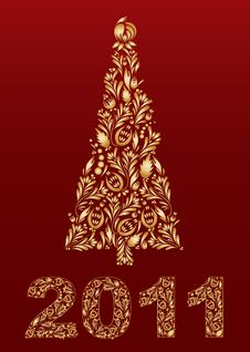 Free New Year Tree With Sign 2011 Royalty Free Stock Image - 17326056