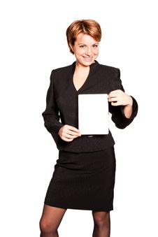 Free Beautiful Business Woman With Empty Card Royalty Free Stock Photo - 17326205