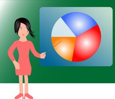 Free Girl And Colorful Arbitrary Chart Graph (diagram) Royalty Free Stock Photo - 17326985
