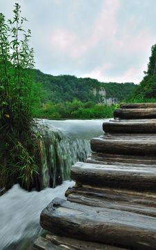 Wooden Stair In Spring Forest Near Stream Stock Photos