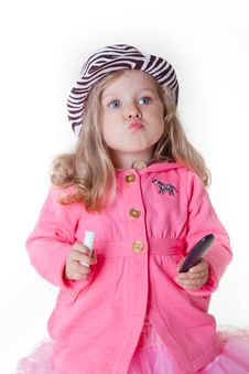 Free Fashionable Little Girl Sending A Kiss Royalty Free Stock Photography - 17327267