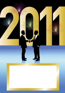 Free Business Men Shaking Hands Big 2011 Sign Stock Photography - 17327602