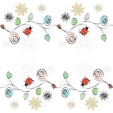 Free Vector With Flowers And Ladybirds Royalty Free Stock Photos - 17327848