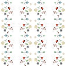 Free Vector With Flowers And Ladybirds Stock Photography - 17327862