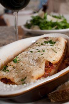 Free Lasagna With Salad Stock Image - 17328351