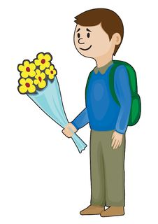 Schoolboy With Flowers Royalty Free Stock Images
