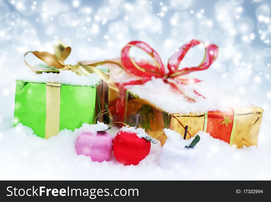 Christmas decorations. Gift boxes