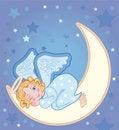 Free Angel Sleeping On The Moon Stock Photography - 17338112