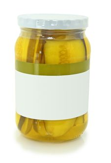 Free Isolated Jar Of Pickle Slices On White Royalty Free Stock Photos - 17330418
