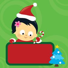 Free Christmas Asian Baby Girl Holding Sign Royalty Free Stock Photography - 17330447