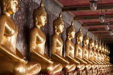 Free Row Of Golden Buddha Statues Royalty Free Stock Image - 17331426
