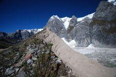 Glaciars Inside A Lake In Peru