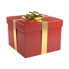 Free Red Gift Box With Golden Ribbon Stock Images - 17332084