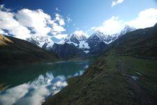 Snow Mountains And Azure Lake In Peru