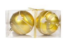 Free Two Christmas Golden Balls In Transparent Box Stock Images - 17332194