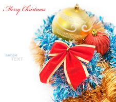 Free Christmas Decoration Baubles And Red Bow Isolated Royalty Free Stock Photos - 17332268