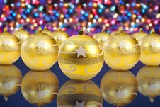 Golden Christmas Decoration Balls Stock Images