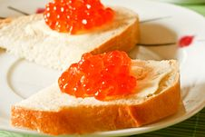 Free Sandwich With Red Caviar Royalty Free Stock Image - 17332886