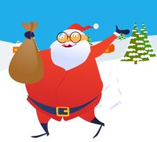 Free Santa Claus Running Through The Snow With A Toy Ba Royalty Free Stock Photo - 17334235