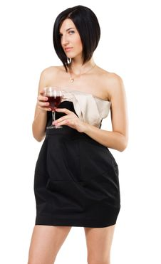 Free Beautiful Young Lady Holding A Glass Of Wine Stock Photography - 17335422