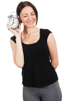 Free Cheerful Young Woman With Alarm Clock Stock Image - 17335461