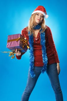 Free Lovely Girl With Christmas Gift Royalty Free Stock Images - 17335599