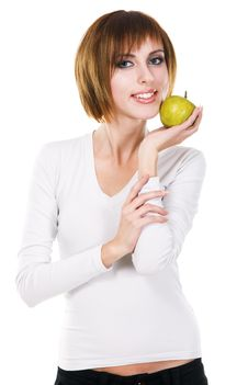 Free Young Beautiful Woman With A Green Apple Royalty Free Stock Image - 17335626