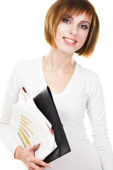 Free Cheerful Girl With Folders And Business Papers Royalty Free Stock Photography - 17335647