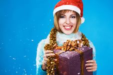 Free Festive Girl With Christmas Gift Stock Photos - 17335673