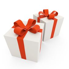 Gift Box With A Red Bow Royalty Free Stock Photography