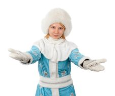 Beautiful Girl In New Year Costume Stock Photography