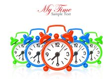 Free Multi Color Alarm Clocks On White Royalty Free Stock Photography - 17337367
